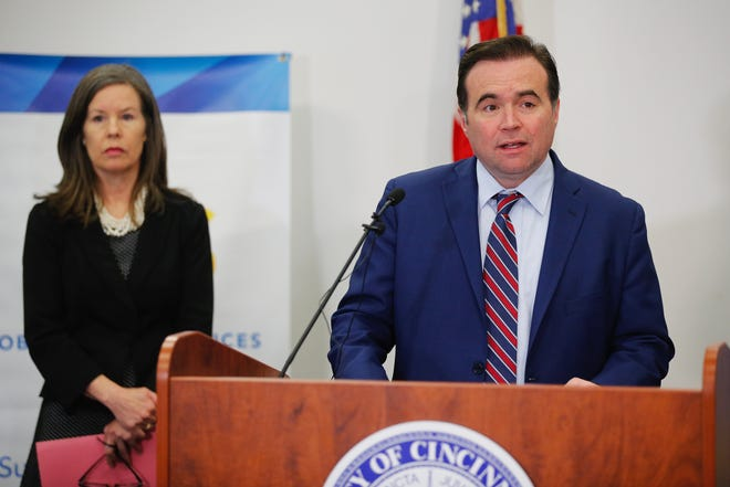 Mayor John Cranley speaks at a press conference with Hamilton County officials in response to the new coronavirus pandemic on Monday, March 16, 2020. Also pictured, Hamilton County Commissioner Denise Driehaus.