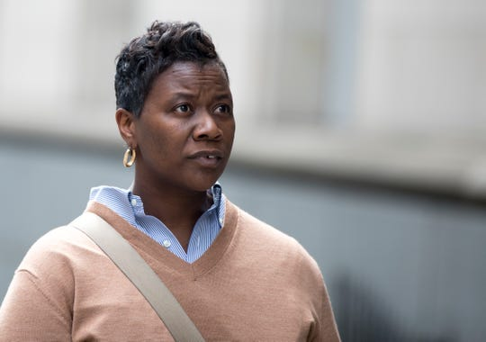 Tamaya Dennard leaves the Potter Stewart U.S. Courthouse after pleading not guilty to charges including bribery, attempted extortion in downtown Cincinnati on Monday, March 16, 2020.