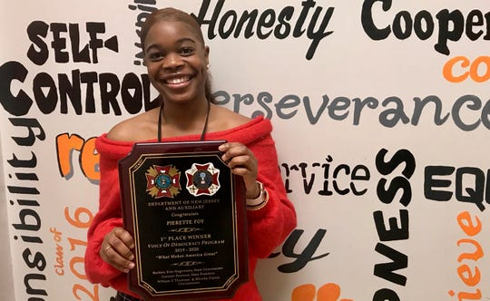 Linden High School senior Pia Foy captured first place for the state of New Jersey in the VFW Voice of Democracy spoken essay contest.