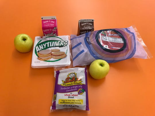 The contents of a Perth Amboy school district grab and go breakfast, lunch and dinner meal