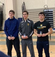 Taras Erachshaw (right) is pictured with the runners-up in the NJSIAA Fencing Championships.