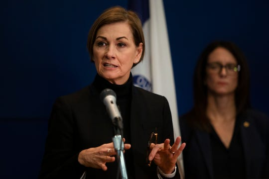 Gov. Kim Reynolds holds a press conference announcing one new case of COVID-19 in Dallas County, as well as assistance for workers and employers impacted by the virus on March 16, 2020 at the Iowa Department of Homeland Security & Emergency Management.