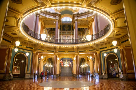 Iowa State Capitol was quiet Monday, March 16, 2020.