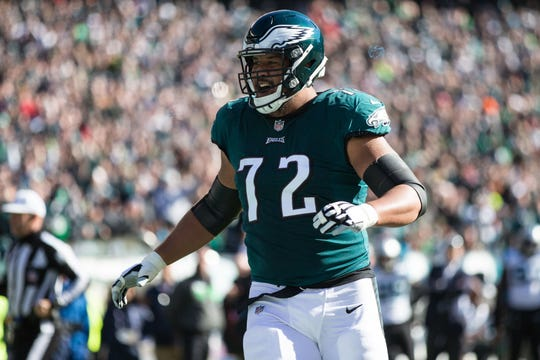 Philadelphia Eagles offensive tackle Halapoulivaati Vaitai during a game Oct. 21, 2018.