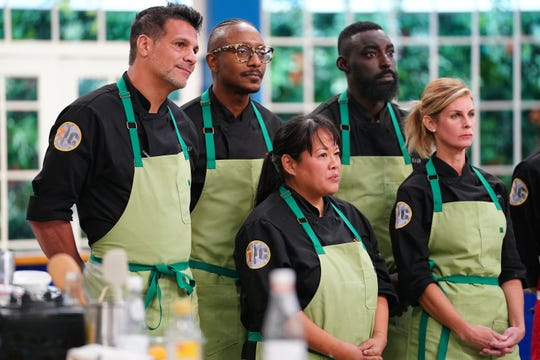 "Bravo's ""Top Chef All-Stars""' premieres March 19. Contestants include Angelo Sosa, left, Gregory Gourdet, Lee Anne Wong, Eric Adjepong and Jennifer Carroll."