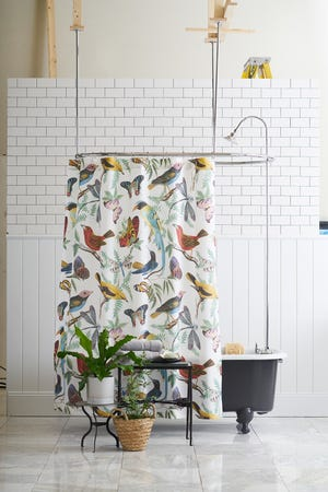Fauna Bird Print Shower Curtain from Pottery Barn offers an uplifting color palette.