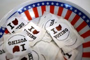 A bowl of stickers for those taking advantage of early voting in Steubenville, Ohio.