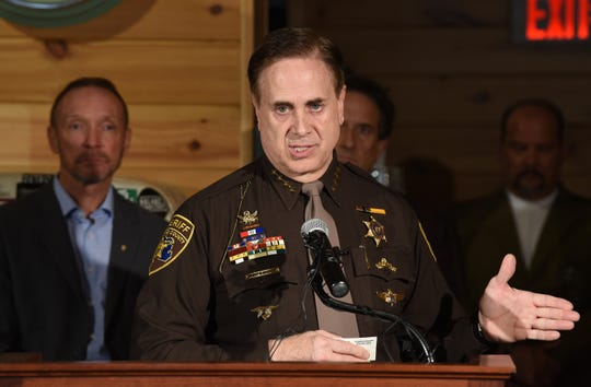 Michael Bouchard Oakland County Sheriff talks about the coronavirus, social distancing and the early closing hours of restaurants and bars during a press conference at M-Brew bar on Monday, March 16, 2020.