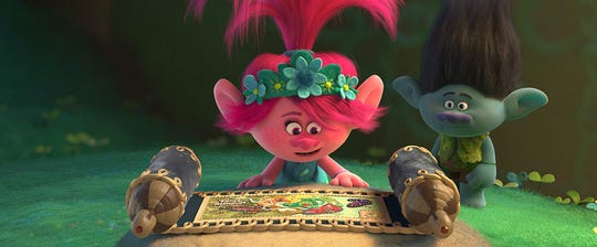 "Characters voiced by Anna Kendrick and Justin Timberlake in ""Trolls World Tour."""