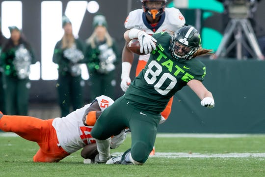 Michigan State tight end Matt Seybert finished the season with 26 receptions for 284 yards and three touchdowns, while also being named Academic All-Big Ten.