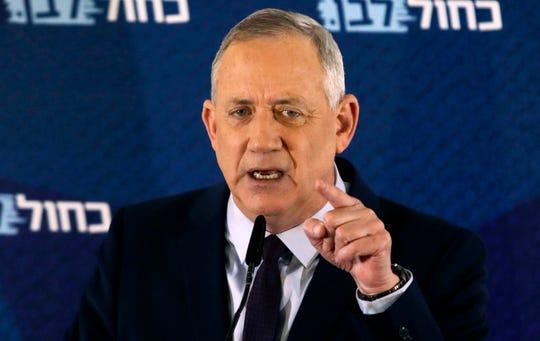 Blue and White party leader Benny Gantz delivers a statement in Tel Aviv, Israel, on March 7. (AP Photo/Sebastian Scheiner, File)