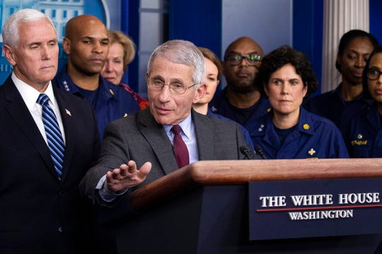 Dr. Anthony Fauci, director of the National Institute of Allergy and Infectious Diseases speaks during a briefing about the coronavirus in the James Brady Press Briefing Room of the White House, Sunday, March 15, 2020, in Washington. Fauci, said that Americans should aim to severely curtail leaving their homes, but did not indicate the government would order such a move.