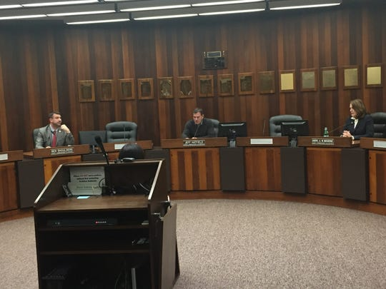 Vanderburgh County Commissioners Ben Shoulders, President Jeff Hatfield and Cheryl Musgrave practiced social distancing Monday during a special meeting to declare a State of Emergency due to the coronavirus spread.