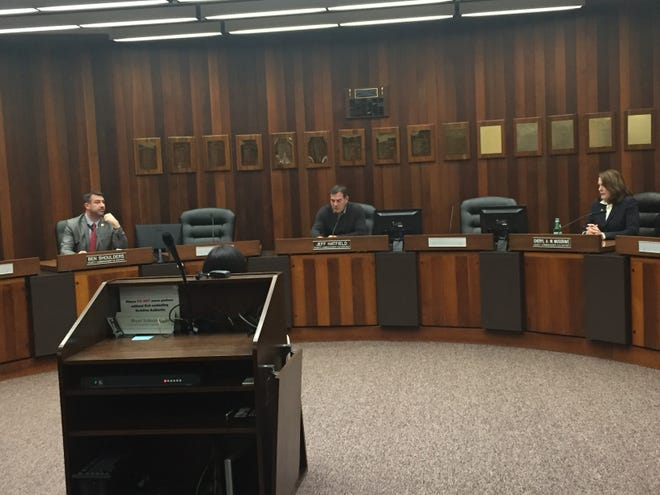 Vanderburgh County Commissioners Ben Shoulders, President Jeff Hatfield and Cheryl Musgrave practiced social distancing at a special meeting in 2020 to declare a state of emergency due to the coronavirus spread.