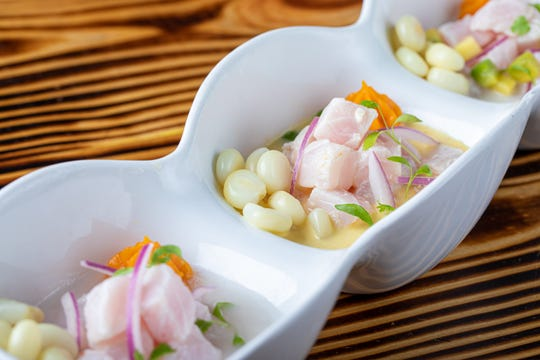 "The ""Trio de Ceviches""  from Ceviches by Divino includes ceviche Divino, traditional ceviche and ceviche aji amarillo."