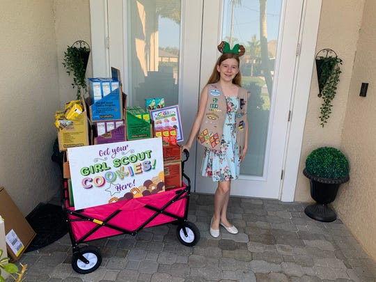 Local Girl Scouts like Olivia Trader, 13, of Cape Coral, are hitting the streets to sell the last of their cookies because their traditional booth sales have been canceled due to the coronavirus. This impacts Girl Scouts of Gulfcoast Florida, which is headquartered in Sarasota and serves nearly 6,000 scouts in a 10-county spread from Manatee County south to Collier and east to Highlands.