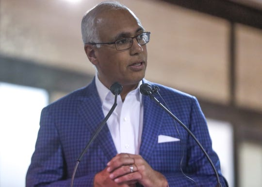 Prevea Health President and CEO of Ashok Rai speaks about the local response to the coronavirus pandemic during  a press conference on Monday with area government and health officials   at Bellin Health's Libal Street Location in Allouez.