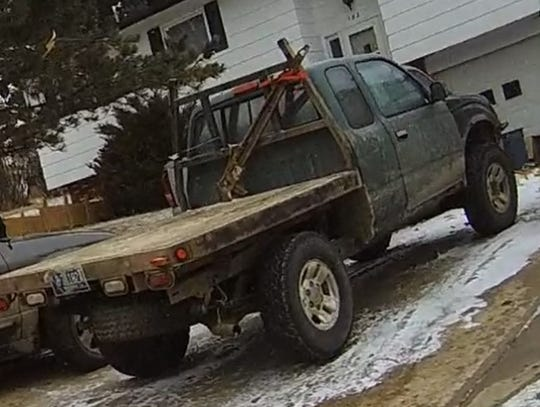 The 1995 green Toyota Tacoma flatbed pickup police were searching for in connection with the shooting death of David Sesssions