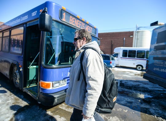 """""""It's a big deal,"""" Clay Peterson said of the shutdown of the city buses in Great Falls on Monday as he waited to board a bus at the downtown Great Falls transfer center."""