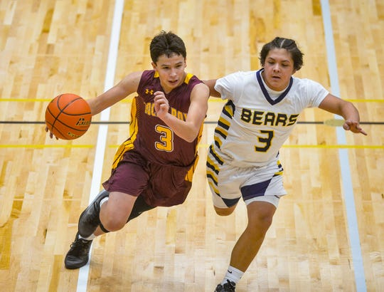 "Rocky Boy's Ben ""Benji"" Crebs knew Box Elder was a big game during the 2019 Native American Basketball Classic."