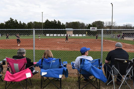 Fans watch the William Blount and Alcoa softball game on Monday, March 16, 2020.