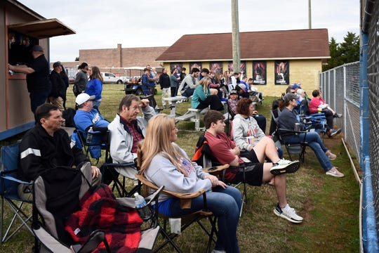 Softball fans gather to watch the William Blount and Alcoa game on Monday, March 16, 2020.