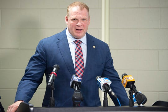 Knox County Mayor Glenn Jacobs speaks about COVID-19 during a news conference Monday, March 16, 2020, at the Knox County Health Department.