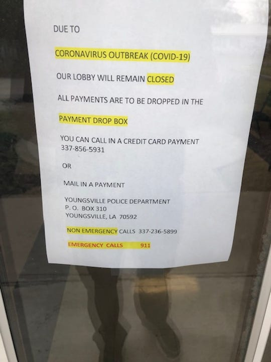 Youngsville Police Department is closing its lobby due to coronavirus.