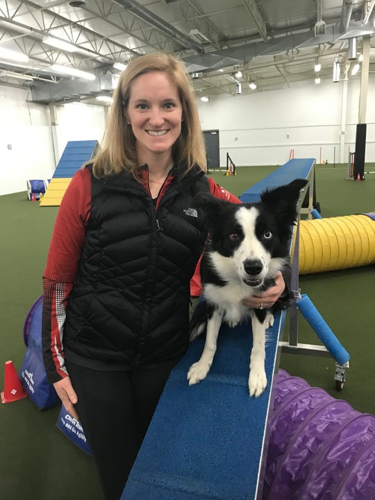 IncrediPAWS Dog Training of Pataskala owner Jennifer Crank poses with Pink!, her border collie who won the 16-inch height division last month in the masters agility competition at the Westminster Kennel Club dog show in New York.