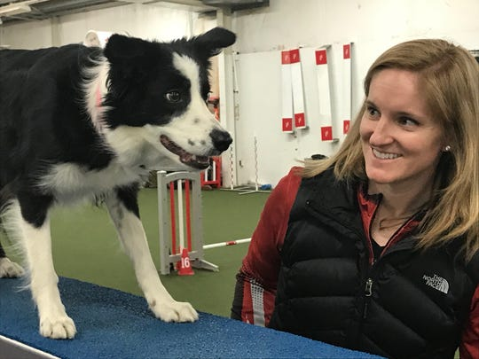 Pink!, a border collie from Pickerington, won the masters agility competition in the 16-inch height division last month at the Westminster Kennel Club dog show in New York. Also pictured is owner and trainer, Jennifer Crank. Crank owns IncrediPAWS Dog Training in Pataskala.