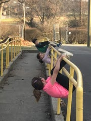 Michelle Bornstein took and her three kids walked the dog this weekend near Atherton High School in the Highlands. She's been coming up with fun ways to help break the monotony during the break from school due to the coronavirus.