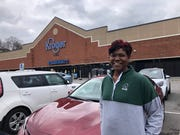 Danielle Ruffin is hunting for frozen okra at her second Kroger location on Monday morning.