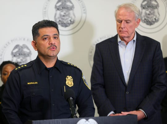 Milwaukee Police Chief Alfonso Morales holds news conference about the death MPD emergency communications operator  Deborah Harris, 62, who died from injuries when her car was struck by another car this morning. Also pictured is Milwaukee Mayor Tom Barrett.