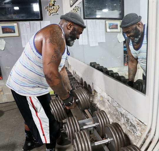 Mike Gray of Milwaukee works out at Brickyard Gym, 2651 S.  Kinnickinnic Ave., in Milwaukee. Gray, 42, said he works out every other day for 2 to 4 hours.
