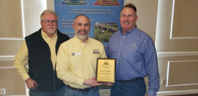 Rod Ofte (right), general manager of the Wisconsin Grass-Fed Beef Cooperative, is shown with Operations Manager Pete Prochnow (left) and member of the year Brett Danke.