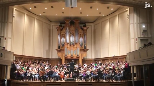 "Orchestra and choir students at the Lawrence University perform ""Elijah"" by Felix Mendelssohn. The students performed together one last time before the university moves to remote courses for the spring trimester."