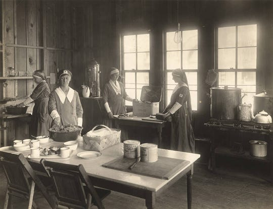 Nurses at Camp Sheridan outside of Montgomery during World War I. The U.S. Army camp was hit hard by the influenza epidemic of 1918.