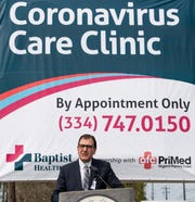 Baptist Health CEO Russ Tyner speaks at a press conference publicizing the Coronavirus Care Clinic that is now open in Montgomery, Ala., on Monday March 16, 2020.