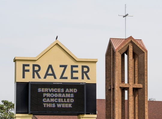Frazer United Methodist Church sign announcing programs canceled because of the Coronavirus outbreak in Montgomery, Ala., on Monday March 16, 2020.