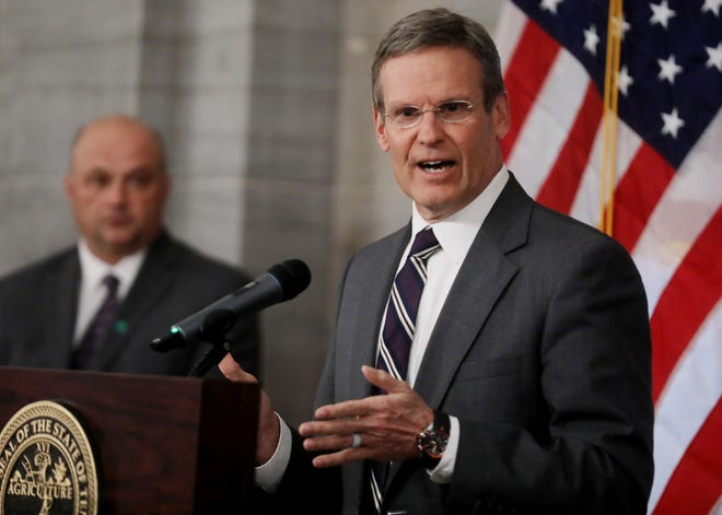 Gov. Bill Lee speaks at a press conference in the Old Supreme Court Chamber in the Tennessee State Capitol Monday, March 16, 2020, in Nashville, Tenn.