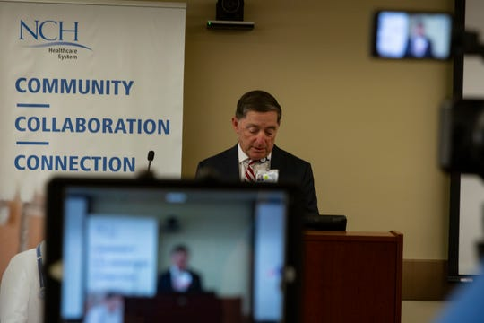 Paul Hiltz, CEO, NCH Healthcare System speaks to journalists, during a press conference, Monday, March 16, 2020, at NCH Telford Library in Naples.