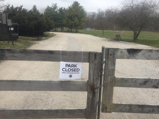 Gates at the entrance of Wildwood Park in Granville were locked March 16, indefinitely, as precaution against COVID-19 transmission.