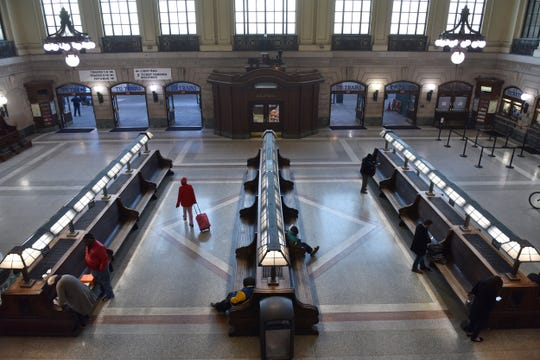 The Hoboken Terminal is seeing less traffic during Monday morningÕs rush hour in Hoboken, N.J. on Monday March 16, 2020. Commuters are working from home due to the coronavirus outbreak.