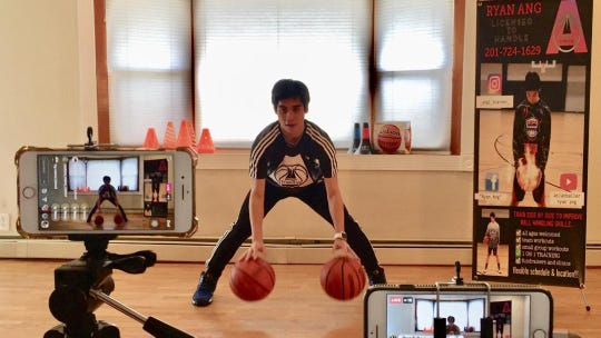 Ryan Ang of Hackensack is streaming basketball training sessions