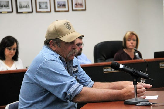 Otero County Road Superintendent Tom Porter discusses a proposed winter weather road policy at the regular Otero County Commission meeting March 12.
