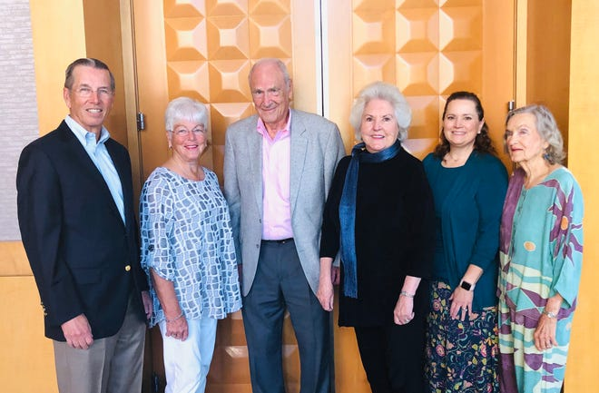 Jim and Jeannie Morris (Golden Angels sponsors) joined Clay and Roberta Klein (founders), Shawna Luzar (outreach pastor for Southwest Church) and Lavonne Crossen (volunteer) at the Read With Me volunteer meeting and appreciation luncheon on March 11, 2020.