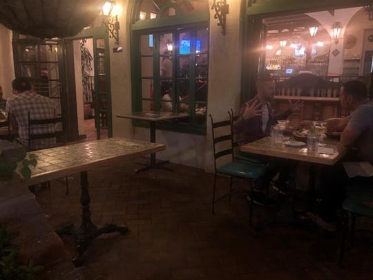Outside tables are spaced out at Las Casuelas Terraza in downtown Palm Springs, hours after City Manager David Ready ordered the closure of all bars and social distancing at restaurants, March 15, 2020.
