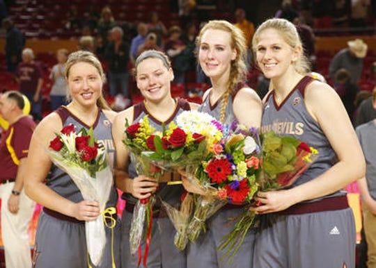 Sophie Brunner, second from left, on ASU women's basketball Senior Day in 2017 with Kelsey Moos, Quinn Dornstauder and Sara Hattis.