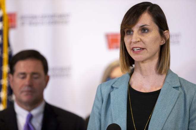 Superintendent of Public Instruction Kathy Hoffman speaks during a press conference to give updates on the state's response to COVID-19 on March 16, 2020, at the Arizona State Health Laboratory in Phoenix.