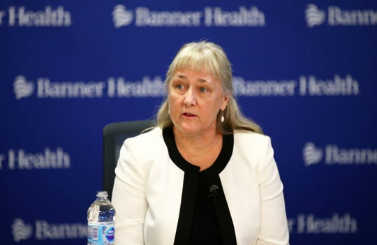 Dr. Marjorie Bessel, chief clinical officer at Banner Health, discusses the COVID-19 coronavirus testing process during a press conference in Phoenix on March 16, 2020.